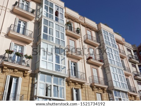 Facade with typical bow window of Bilbao. Spain.