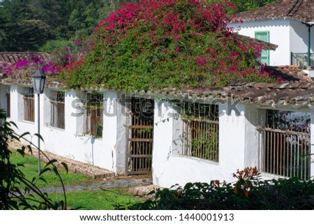 Facades, details and exteriors of a cottage in Antioquia, Colombia.