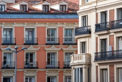 Facades of buildings in the center of Madrid