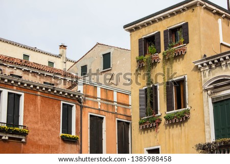 Facades of multi-level buildings in the inner residential courtyard of Venice. Green plants on the facade of the building and on the windows, shutters, flowers on the balconies and window sills. #1385988458