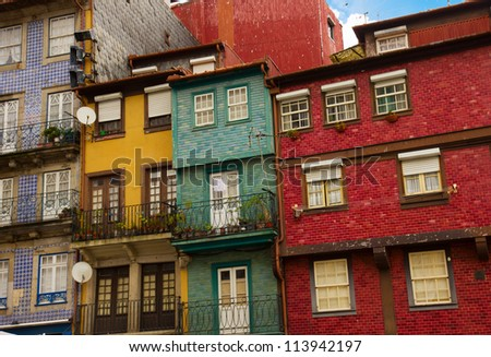 facades of  typical houses in old town, Porto, Portugal - stock photo