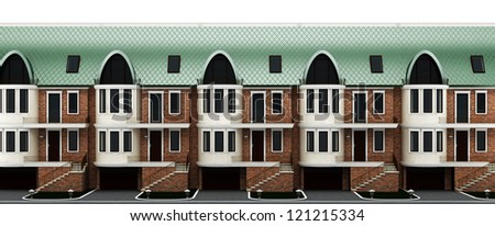 facades terraced houses with the main entrance, terrace and garage. Isolated on white background