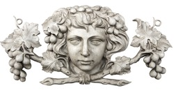 Face and grapes carved in marble isolated on white background