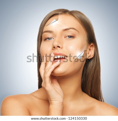 face and hands of beautiful woman with long hair