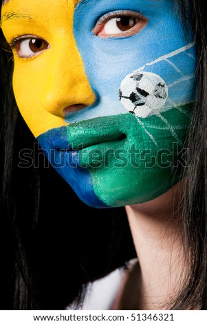 face-art soccer fan - stock photo