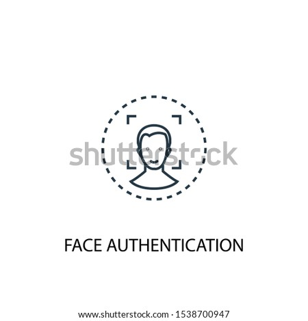 face authentication concept line icon. Simple element illustration. face authentication concept outline symbol design. Can be used for web and mobile UI/UX