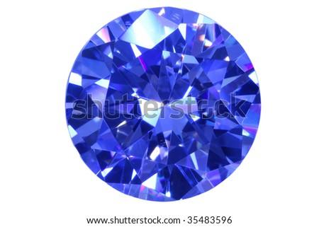 Face blue diamond isolated white.