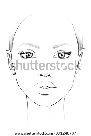 Royalty Free Face Chart Makeup Artist Blank 391248811 Stock Photo