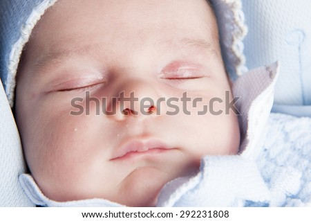 Face close up of a new born baby