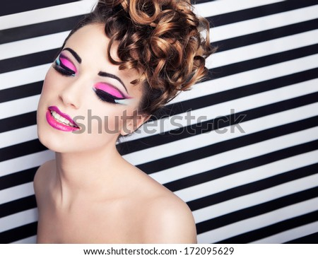 8b5206ab866 Face close up of beautiful young woman with professional party make up  false eyelashes #172095629