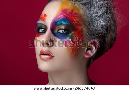 Face close up with creative makeup