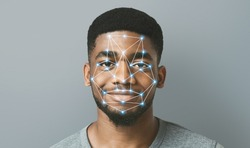 Face detection and recognition of african-american man. Computer vision and artificial intelligence concept