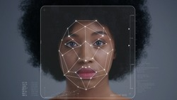 Face Detection. Face ID. Facial Recognition System Concept. Technological 3D Scanning of Face of Pretty Afro-American Woman for Biometric Facial Recognition. Animation with Dots and Trackers on Human