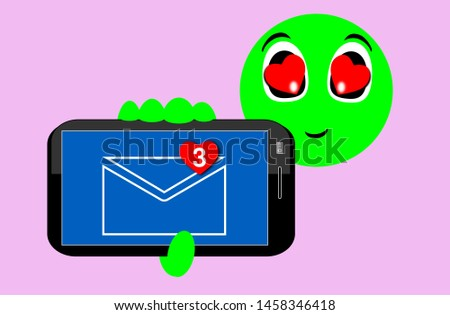 Face, expression of emoticons of pleasant surprise. Illustration of happiness teaching messages with the heart on the smartphone screen. Messaging technology. Love, smile.