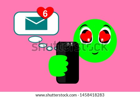 Face, expression of emoticons of pleasant surprise. Illustration of happiness teaching messages with the heart on the smartphone. Messaging technology. Love, smile. Notification of 6 new files.