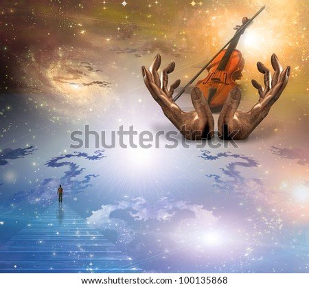Face gazing up with violin - stock photo