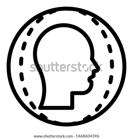Face identification icon. Outline face identification icon for web design isolated on white background