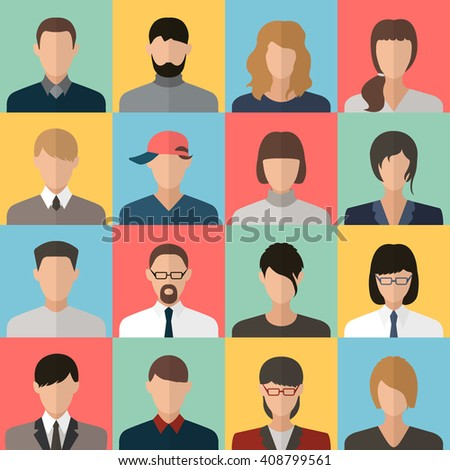face,man,woman,head,profile, avatar 16 flat icons set for web design