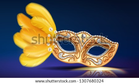 Face mask with beads and feather, ornate with diamonds. Carnival or masquerade colombina masque. Brazil, italian parade face cover. Costume item for man or woman at opera, theater. Holiday, party