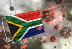 Face mask with flag of South Africa, defending coronavirus