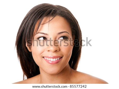 Face of a beautiful attractive happy young woman with short hair looking to the side, skincare concept,  isolated.
