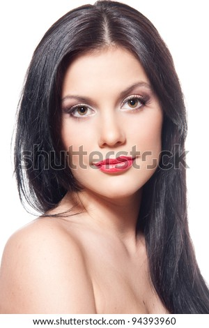 Face of a beautiful brunette woman