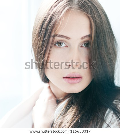 face of a beautiful girl closeup