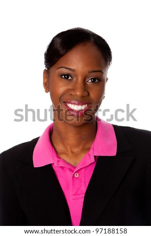 Face of a beautiful happy smiling African business woman in suit, isolated.