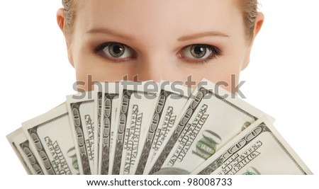 face of a beautiful young woman and the money- dollars