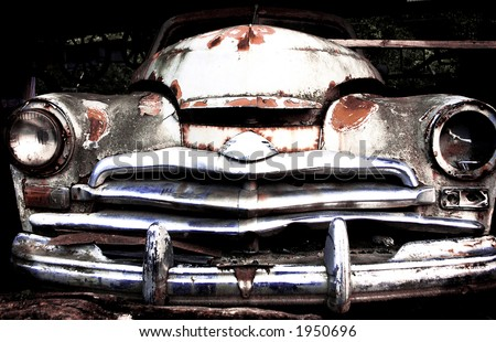 face of a old, damaged car