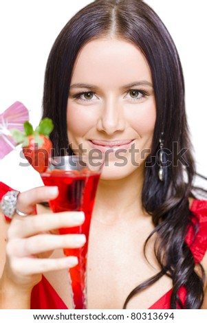 Face Of A Smiling And Happy Cosmopolitan Woman Drinking And Toasting From A Red Martini Glass During A Happy New Year Celebration, Isolated On White Background