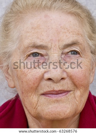 Face of a smiling old woman