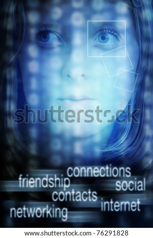 face of a teenager girl with technology background and internet social networking text