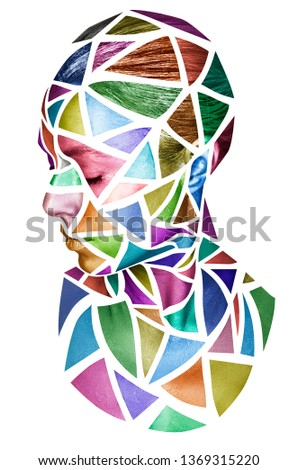 Face of a young female with creative body art. Colorful mosaic of triangles on the face of a woman, on white background.