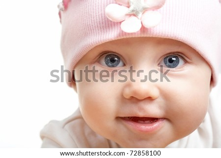 Face of adorable baby in hat looking at camera