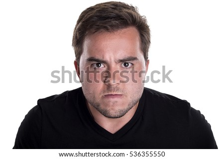 Face of an angry and furious male on a white background.  The image is depicting emotions of anger and frustration.