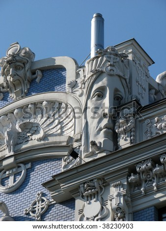 Face of an Art Nouveau building in Riga, Latvia designed by Russian architect Mikael Eisenstein in the early 1900s