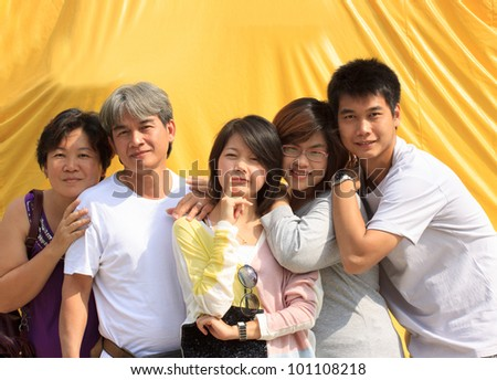 face of asian family people  take a photo together