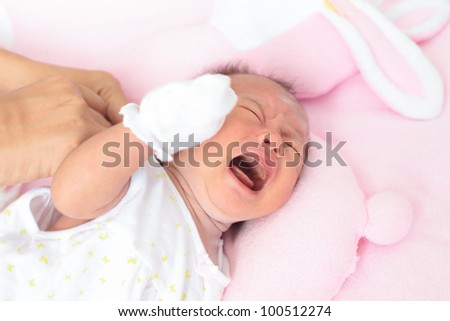 face of baby infant in emotion sign