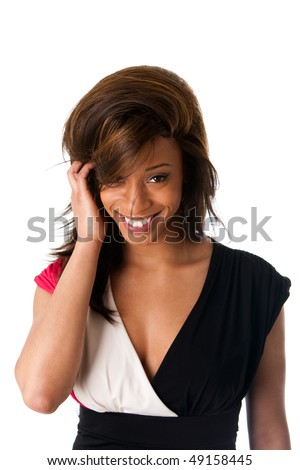 Face of beautiful African American business woman with a smile and shy expression and hand in straight hair, isolated.