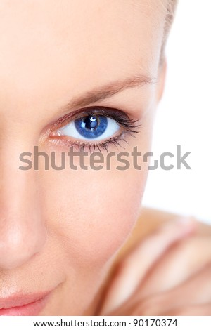 Face of beautiful woman. Isolated over white background. - stock photo