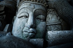 Face Of  Budddha Statue, Fine Art Photography  (Dramatic Tone)