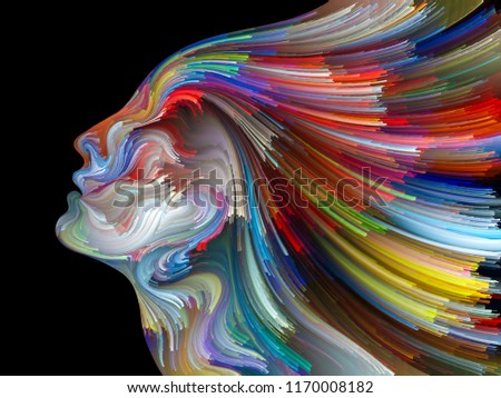 Face of Color series. Arrangement of human profile and colorful lines of moving paint on the subject of creativity, design, internal world, human nature and artistic soul