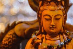 Face of Guan Yin or Guan Yim, Buddha Statue.