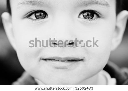 Face of small kid close up