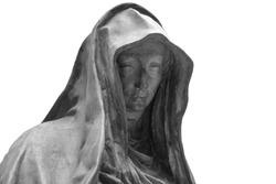 Face of statue of grieving woman isolated on white background. Plaster antique sculpture of young woman face. Gypsum head portrait copy