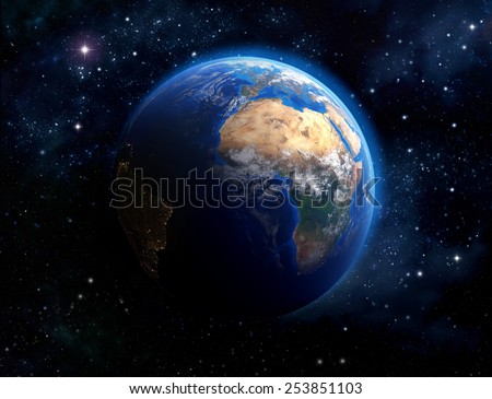 Face of the Earth. Imaginary view of planet earth in outer space. Elements of this image furnished by NASA