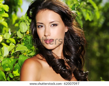 Face of the young beautiful sexy woman outdoors