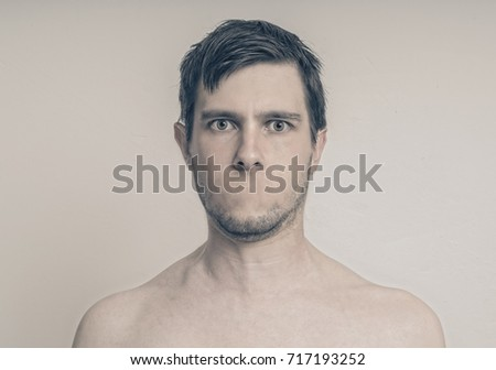 Face of young man without mouth. Censorship concept. #717193252
