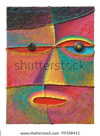 Face 10. Original acrylic painting on canvas.
